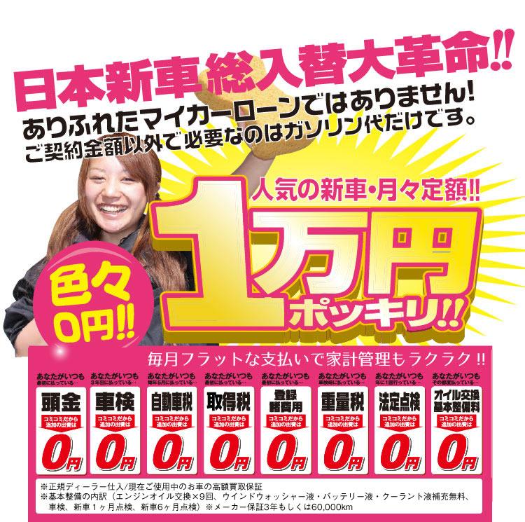 日本新車総入替大革命!! 色々0円!!人気の新車・月々定額1万円ポッキリ!毎月フラットな支払いで家計管理もラクラク!