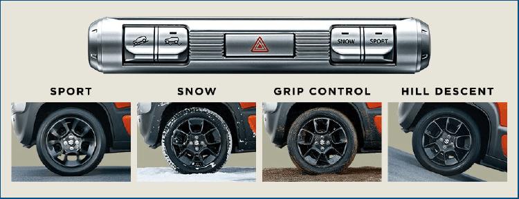 WDモデルにはスイッチ操作で切り替え可能な走行モードが用意されています